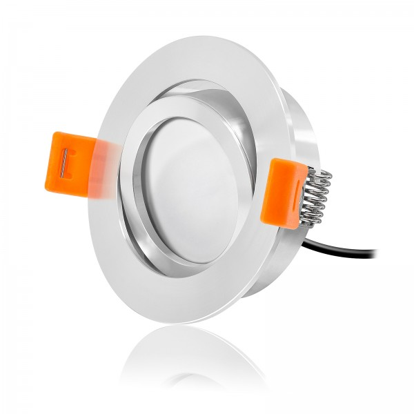 Ledox® Led Einbaustrahler Set dimmbar & schwenkbar inkl. Premium Einbaurahmen Forma poliert 230V 7W Modul inkl. Trafo