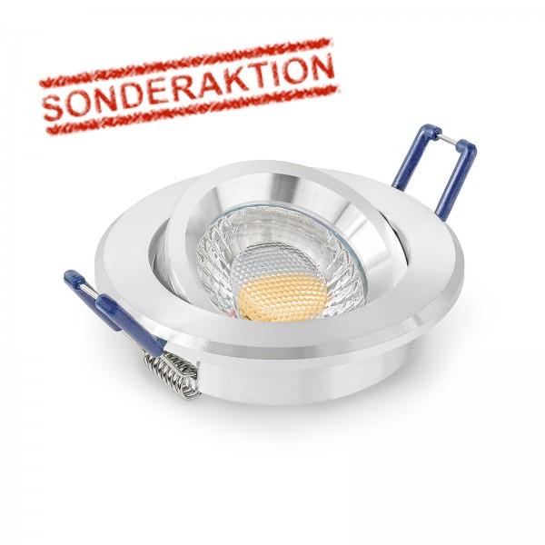 Sonderaktion - LED Einbaustrahler Set I inkl. Einbaurahmen poliert | 230V 5W GU10 3000K