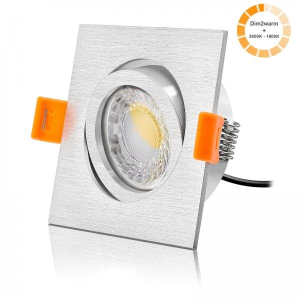 LED Einbauleuchte Set dimmbare Farbtemperatur 1800K-3000K inkl. Forma Einbaurahmen eckig gebürstet 230V 7W Modul 24mm ultra flach