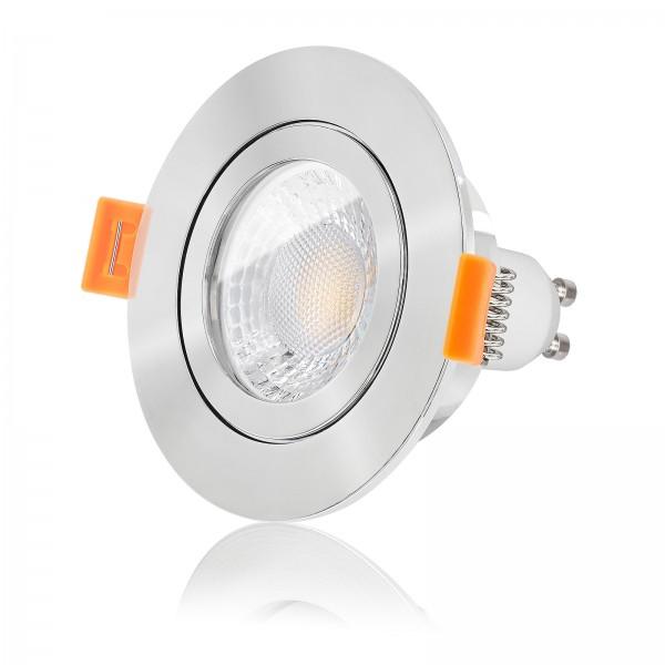 LED Bad Einbaustrahler Set IP44 dimmbar inkl. Forma Aqua RP Einbaurahmen poliert 230V 7W GU10 mit Ra>93