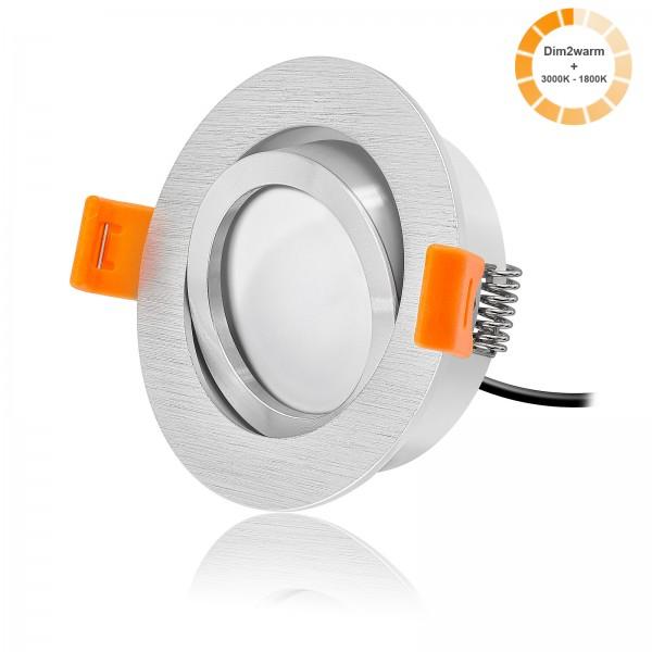 LED Einbaustrahler Set dimmbare Farbtemperatur dimtowarm inkl. Forma R Bicolor Einbaurahmen 230V 7W Modul extra flach
