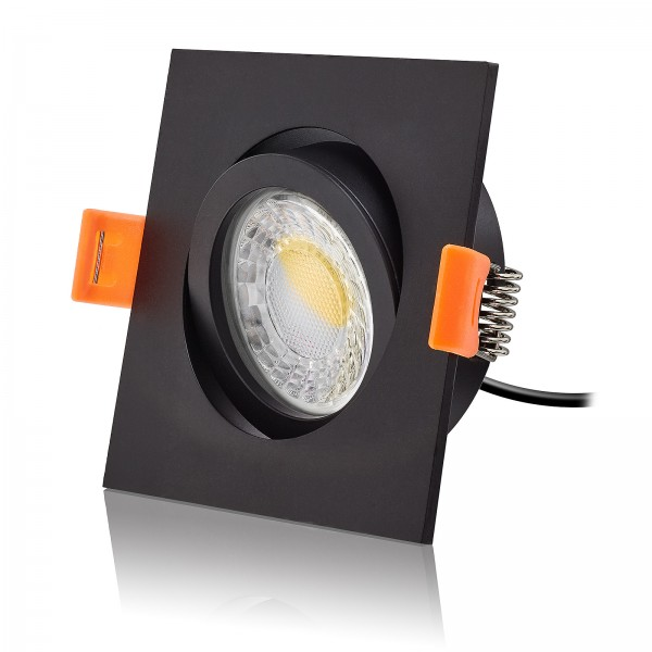 LED Einbaustrahler Set dimmbare Farbtemperatur 1800K-3000K inkl. Forma schwarz Einbaurahmen 230V 7W Modul extra flach
