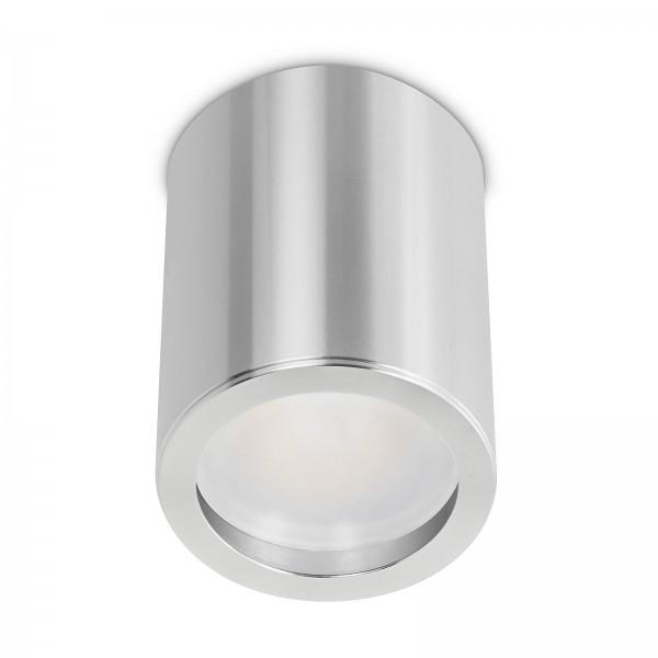 Smart Home Tube Pure LED Aufbauleuchte silber poliert 10cm 24V 6W - 120° KNX DALI GOOGLE HUE