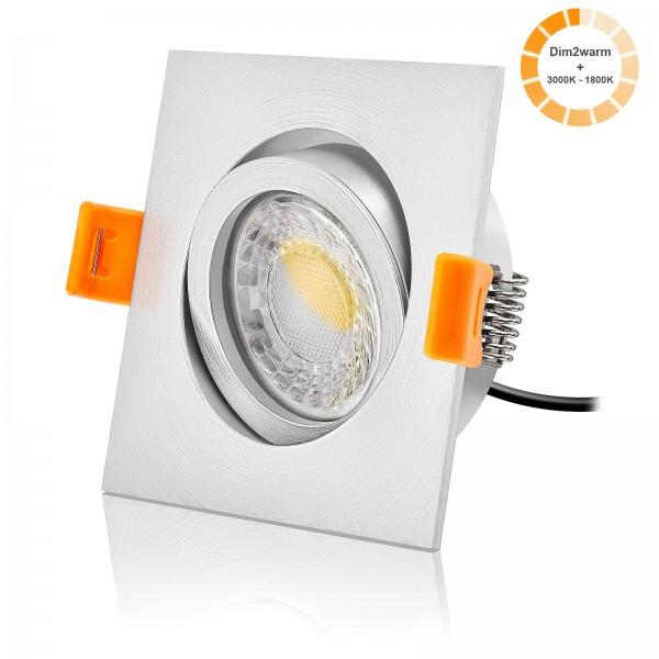 LED Einbaustrahler Set dimmbare Farbtemperatur 1800K-3000K inkl. Forma EM Einbaurahmen 230V 7W Modul extra flach