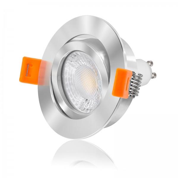 FORMA RC LED Einbaustrahler Set dimmbar & schwenkbar inkl. chrom poliert 230V 7W GU10 mit Ra>93
