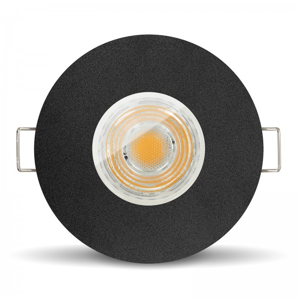 LED Bad Einbaustrahler Set IP65 dimmbar + Einbaurahmen schwarz 230V 10W GU10 I 80W Ersatz