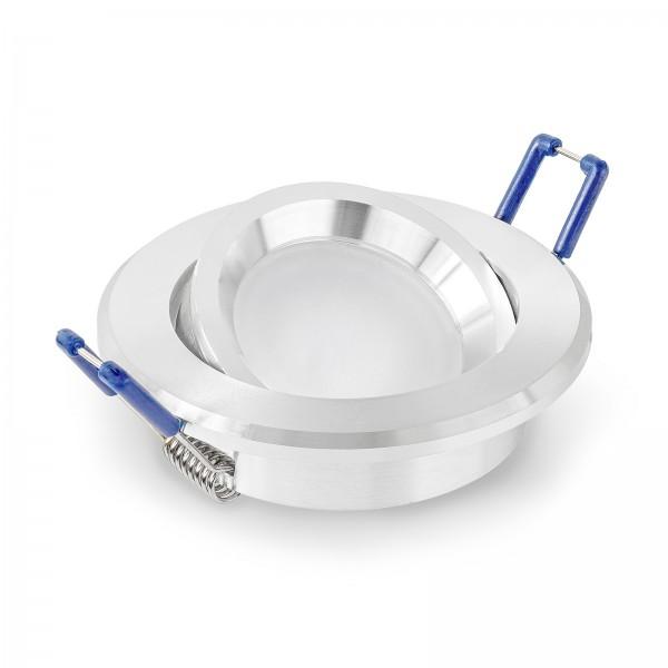 LED Einbaustrahler Set dimmbar & schwenkbar inkl. Einbaurahmen rund poliert 230V 7W Modul inkl. Trafo
