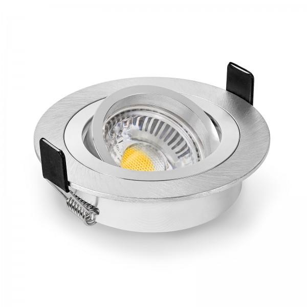 LED Einbaustrahler Set dimmbar & schwenkbar inkl. Einbaurahmen Bicolor gebürstet 230V 6W GU10 Ra>90