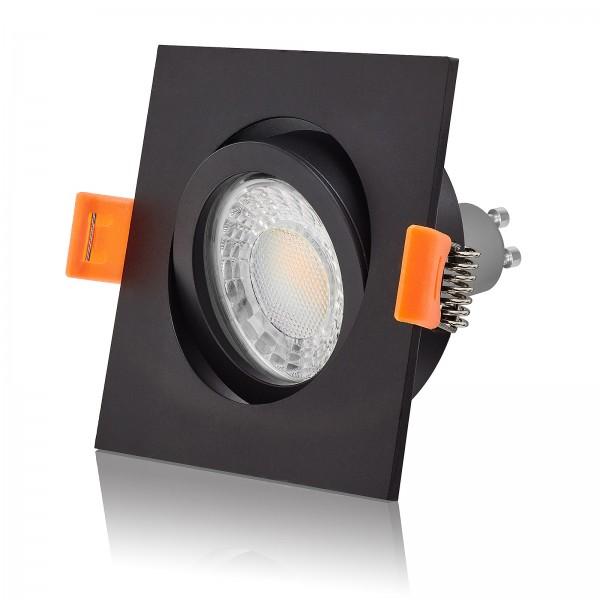 Led Einbaustrahler Set dimmbar & schwenkbar inkl. Premium Einbaurahmen Forma schwarz 230V 7W GU10 3000K warmweiß