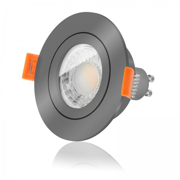 FORMA RA AQUA LED Bad Einbaustrahler Set IP44 dimmbar inkl. Einbaurahmen anthrazit 230V 7W GU10 3000
