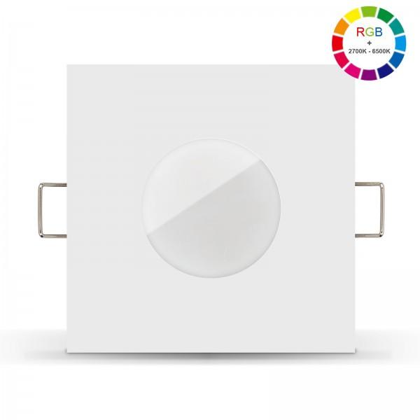 Led Bad Einbaustrahler Set IP65 dimmbar inkl. Lista Aqua Einbaurahmen weiss 230V 6W mit RGB alle Farben