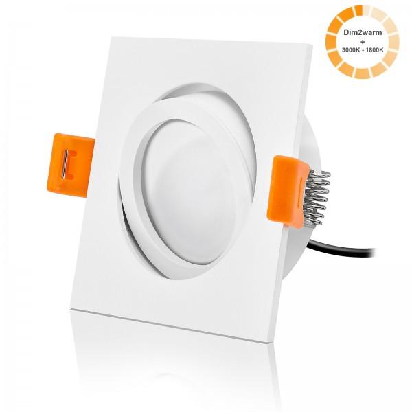 LED Einbaustrahler Set dimmbare Farbtemperatur 1800K-3000K inkl. Forma weiß Einbaurahmen 230V 7W Modul extra flach