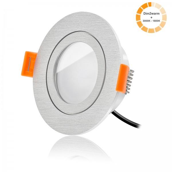 LED Bad Einbaustrahler Set dimmbare Lichtfarbe 1800K-3000K inkl. Forma Einbaurahmen 230V 7W Modul warmweiß