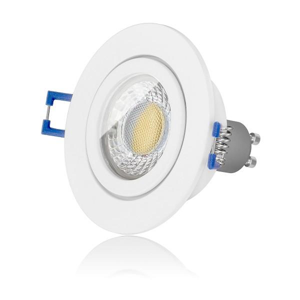 LED Bad Einbauleuchte Set IP44 dimmbar inkl. Einbaurahmen weiß 230V 7W GU10 3000k warmweiß Spot