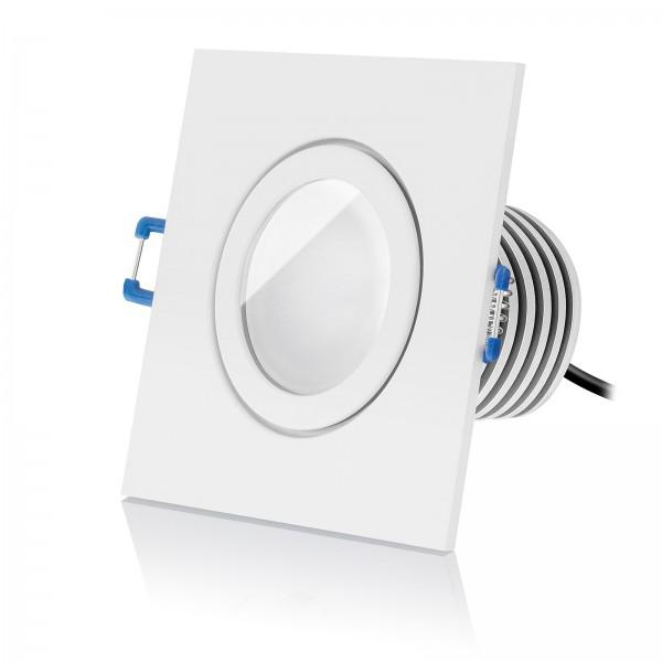 Led Bad Einbaustrahler Set IP44 dimmbar inkl. Einbaurahmen eckig weiß 230V 10W Modul Ra90