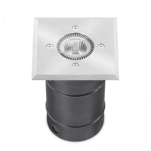 LED Bodeneinbaustrahler Set - dimmbar & IP67 Blende Edelstahl I 230V 6W GU10 LED Strahler mit Reflektor I Einbauleuchte Bodenleuchte Bodenlampe Bodeneinbauleuchte