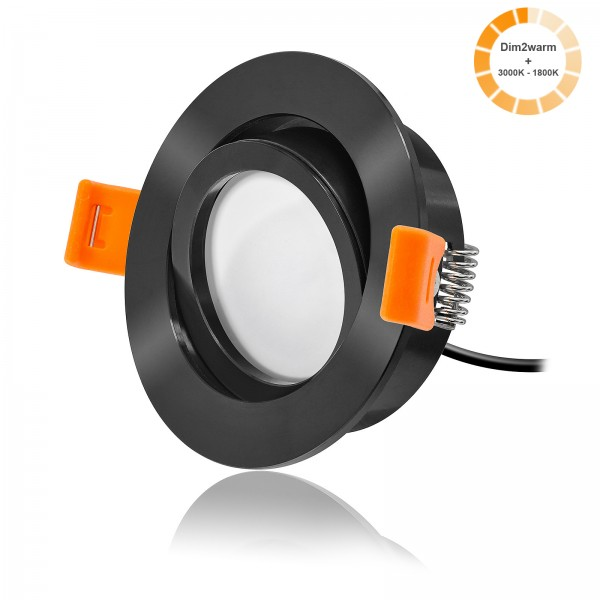 LED Einbaustrahler Set dimmbare Farbtemperatur 1800K-3000K inkl. Forma RS Einbaurahmen schwarz 230V 7W Modul extra flach