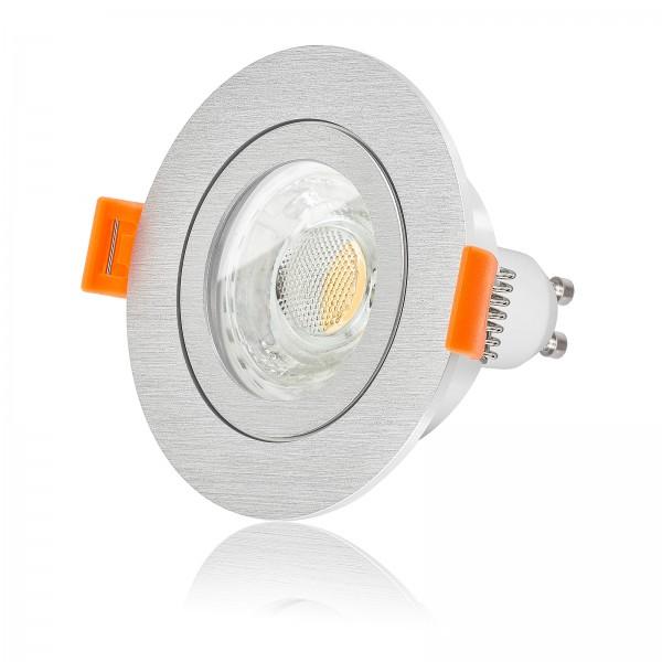 LED Badeinbaustrahler Set IP44 dimmbar inkl. Forma R Einbaurahmen gebürstet 230V 10W GU10 3000k warmweiß