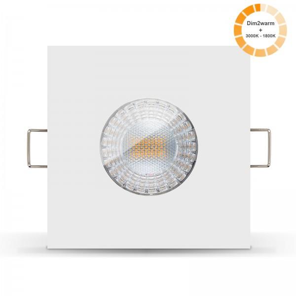 LED Bad Einbaustrahler Set IP65 dimmbare steuerbare Farbtemperatur 1800K-3000K Einbaurahmen weiß 230V 7W