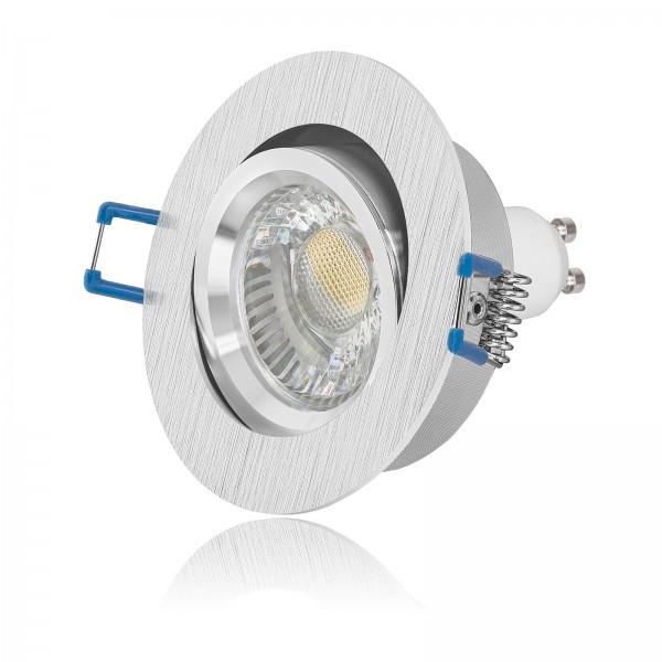 4260546120167 Led Einbaustrahler Set rund gebürstet mit 6W Led COB Leuchtmittel GU10 230V warmweiß 2700K