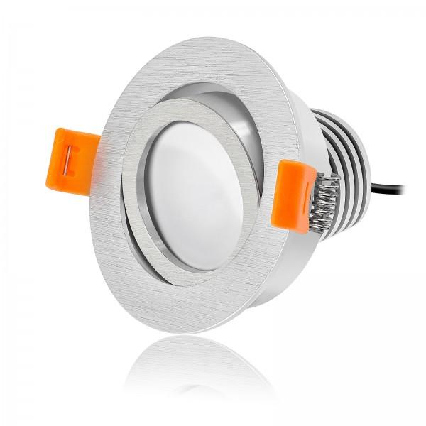 LED Einbaustrahler Set dimmbar & schwenkbar inkl. Einbaurahmen Forma R gebürstet 230V 10W Modul mit Ra>90