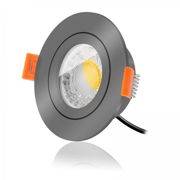 LED Bad Einbauspot Set IP44 dimmbar inkl. Forma Aqua Einbaurahmen anthrazit 230V 7W Modul extra flach
