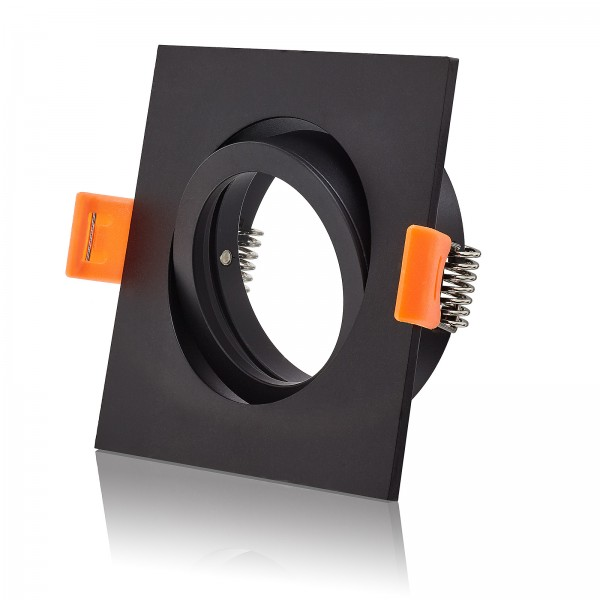 Forma Einbaurahmen aus Aluminium schwenkbar eckig schwarz geeignet für Led & Halogen Leuchtmittel