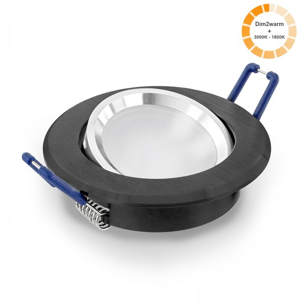 LED Einbaustrahler Set dimmbare steuerbare Farbtemperatur 2000K-3000K inkl. Einbaurahmen 230V 7W