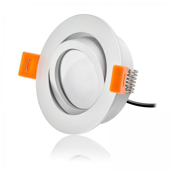 LED Einbaustrahler Set dimmbar & schwenkbar inkl. Premium Einbaurahmen Forma Silber matt 230V 6W Modul inkl. Trafo 2700K warmweiß