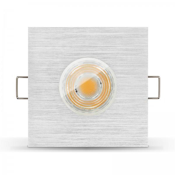 LED Bad Einbaustrahler Set IP65 dimmbar + Einbaurahmen gebürstet 230V 10W GU10 I 80W Ersatz - seitlich