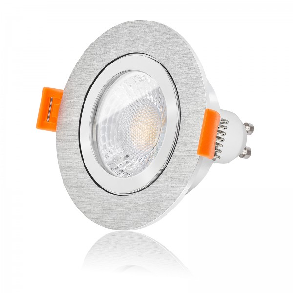 LED Bad Einbaustrahler Set IP44 dimmbar inkl. Einbaurahmen gebürstet 230V 7W GU10 mit Ra>93