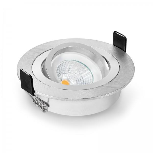 Led Einbauleuchten Set dimmbar & schwenkbar inkl. Einbaurahmen Bicolor gebürstet 230V 6W Modul warmweiß