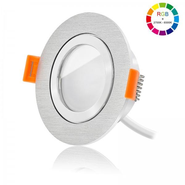 Ledox Led Bad Einbaustrahler Set dimmbar inkl. FORMA AQUA R Bicolor Einbaurahmen und Led Leuchtmittel Modul RGB + 2700k - 6500K