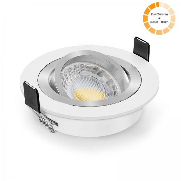 LED Einbaustrahler Set dimmbare steuerbare Farbtemperatur 1800K-3000K & Einbaurahmen 230V 7W Modul