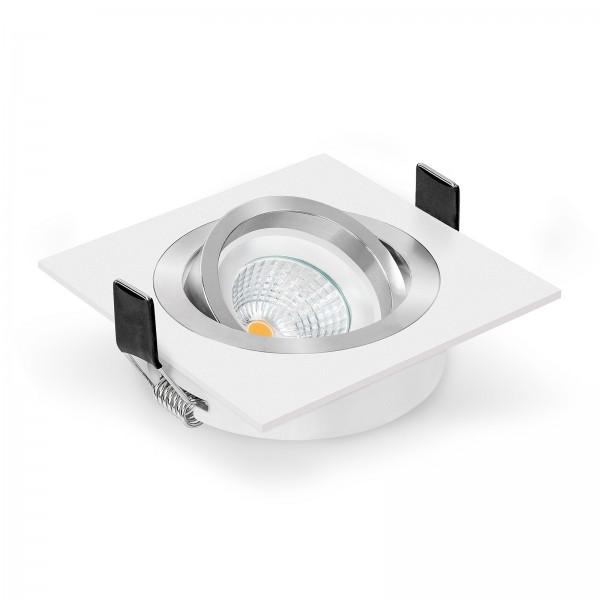 LED Einbaustrahler Set dimmbar & schwenkbar inkl. Einbaurahmen 230V 6W Modul 2700k warmweiß Ra>90