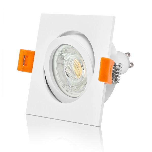 LED Einbaustrahler Set dimmbar & schwenkbar inkl. Premium Einbaurahmen Forma weiß eckig 230V 10W GU10 3000k