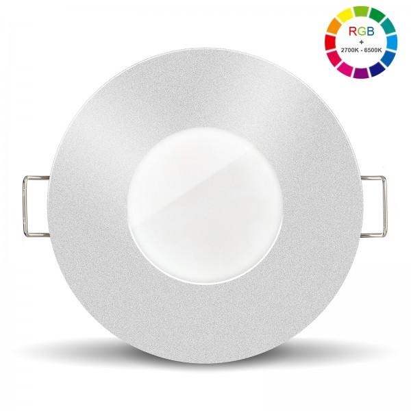 Led Bad Einbaustrahler Set IP65 dimmbar inkl. Lista Aqua Einbaurahmen rund silber 230V 6W mit RGB alle Farben