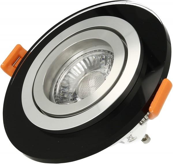 LISTA VIDRIO Einbaustrahler Design Echtglas Einbaurahmen schwarz rund schwenkbar 68mm Lochausschnitt