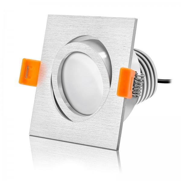 LED Einbaustrahler Set dimmbar & schwenkbar inkl. Einbaurahmen gebürstet 230V 10W Modul mit Ra>90