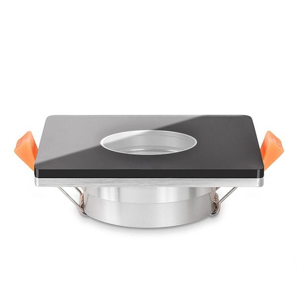 LISTA VIDRIO Bad Einbaustrahler IP44 Echtglas Einbaurahmen schwarz 68mm Lochausschnitt