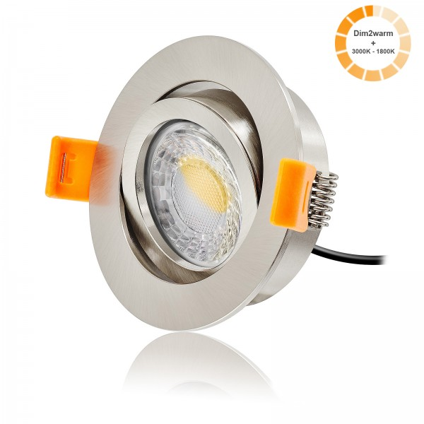 LED Einbaustrahler Set dimmbare Farbtemperatur 1800K-3000K inkl. Forma RE Einbaurahmen 230V 7W Modul extra flach