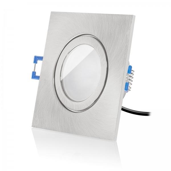 Led Bad Einbaustrahler Set IP44 dimmbar inkl. Einbaurahmen eckig quadratisch eisen gebürstet 230V 6W Modul