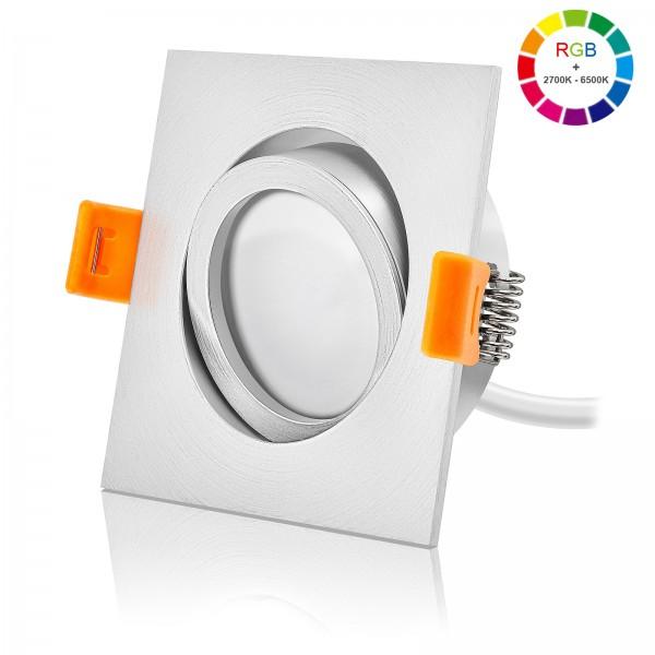 FORMA EM LED Premium Einbaustrahler Set dimmbar & schwenkbar inkl. Einbaurahmen und Led Leuchtmittel Modul RGB + 2700k - 6500K