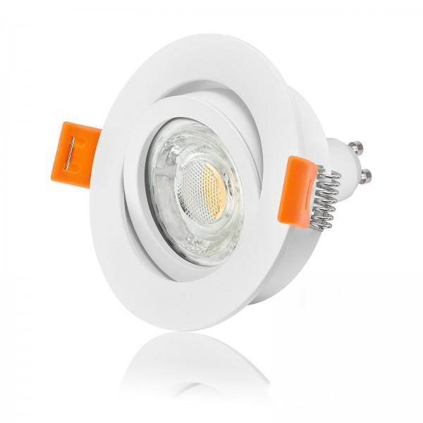 LED Einbaustrahler Set dimmbar & schwenkbar inkl. Premium Einbaurahmen Forma weiß 230V 10W GU10 3000k