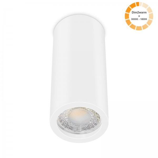 Tube Pure Aufbauleuchte - 230V 7W Modul dimm2warm - 60° Abstrahlung - dimmbar - Aufbaurahmen weiß Aluminium 17cm