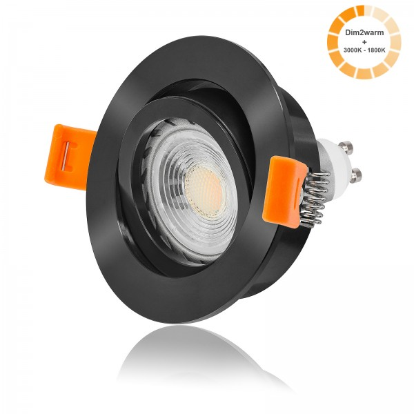 LED Einbaustrahler Set dimmbare Farbtemperatur 1800K-3000K inkl. Forma schwarz Einbaurahmen rund 7W GU10 dim2warm