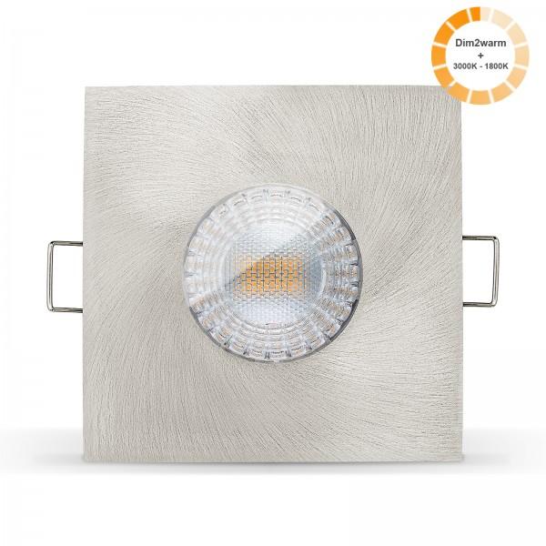 LED Bad Einbauleuchte Set IP65 dimmbare steuerbare Farbtemperatur 1800K-3000K Einbaurahmen gebürstet 230V 7W