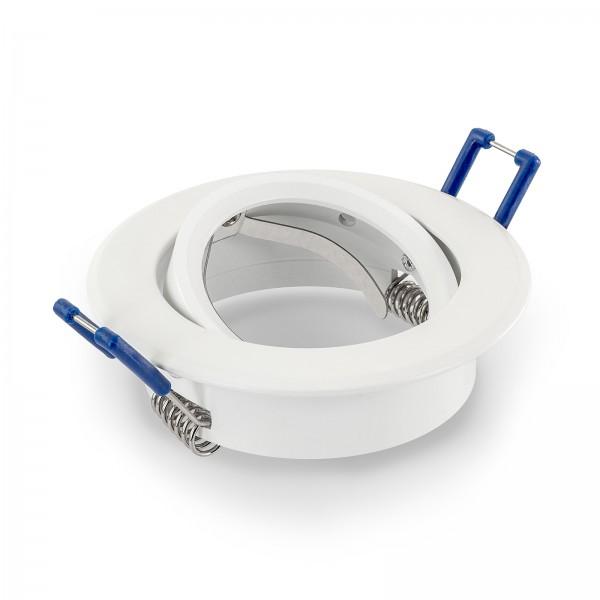 Einbaurahmen aus Aluminium weiß in rund schwenkbar geeignet für Led & Halogen Leuchtmittel