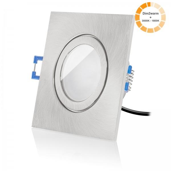 LED Bad Einbaustrahler Set dimmbare Lichtfarbe 1800K-3000K inkl. Einbaurahmen eisen gebürstet 230V 7W Modul