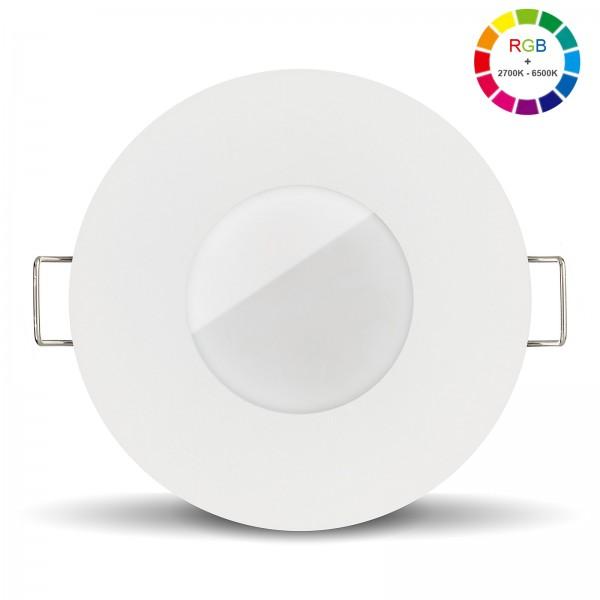 Led Bad Einbaustrahler Set IP65 dimmbar inkl. Lista Aqua Einbaurahmen rund weiß 230V 6W mit RGB alle Farben